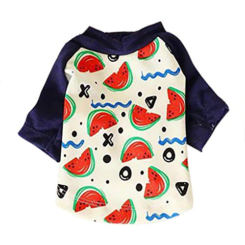 Kimanli New Pet Wavy Watermelon Print Temperament Dog Leisure Shirt Costume Summer (S, White) (Balls 19' Tissue)