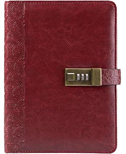 Business Journal With Combination Lock ( Diary With Combination Lock ) A5 (8.5 X 5.8 Inch) The PU Leather Combination Lock Journal ( Combination Lock Diary ) Is A Refillable Leather Journal (Dark Red)