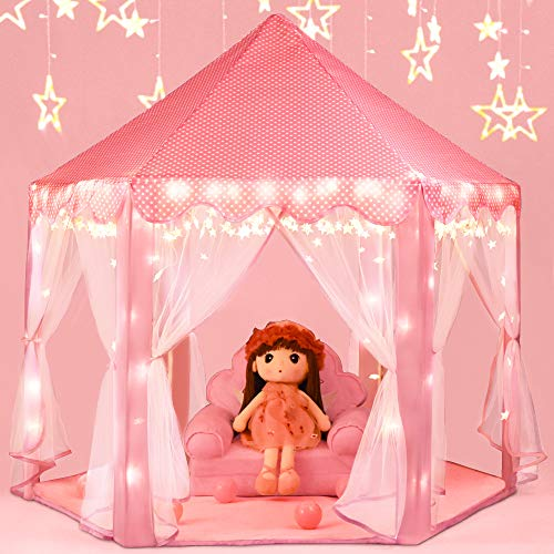 Moncoland Princess Castle Girls Play Tent Toy Kids Large Fairy Playhouse Gift for Children Toddlers Indoor and Outdoor Games with Star Lights(Pink)