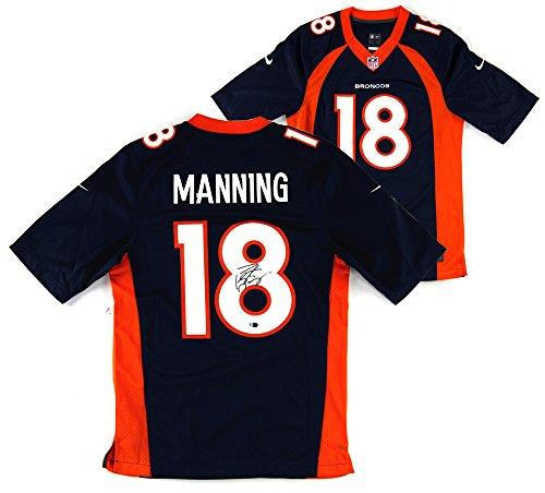 (Peyton Manning Autographed/Signed Denver Broncos Nike Authentic Blue Jersey)