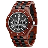 MEKU Men's Wood Wrist Watch Quartz Day Date Wooden Watch Gift (Sandalwood & Ebony)