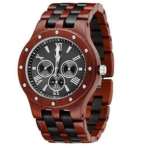 MEKU Men's Wood Wrist Watch - Handmade Wooden Watches Gift for Him