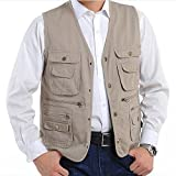 Zicac Mens Pure Cotton Multi-pocketed Fishing Vest for Camping Hunting...