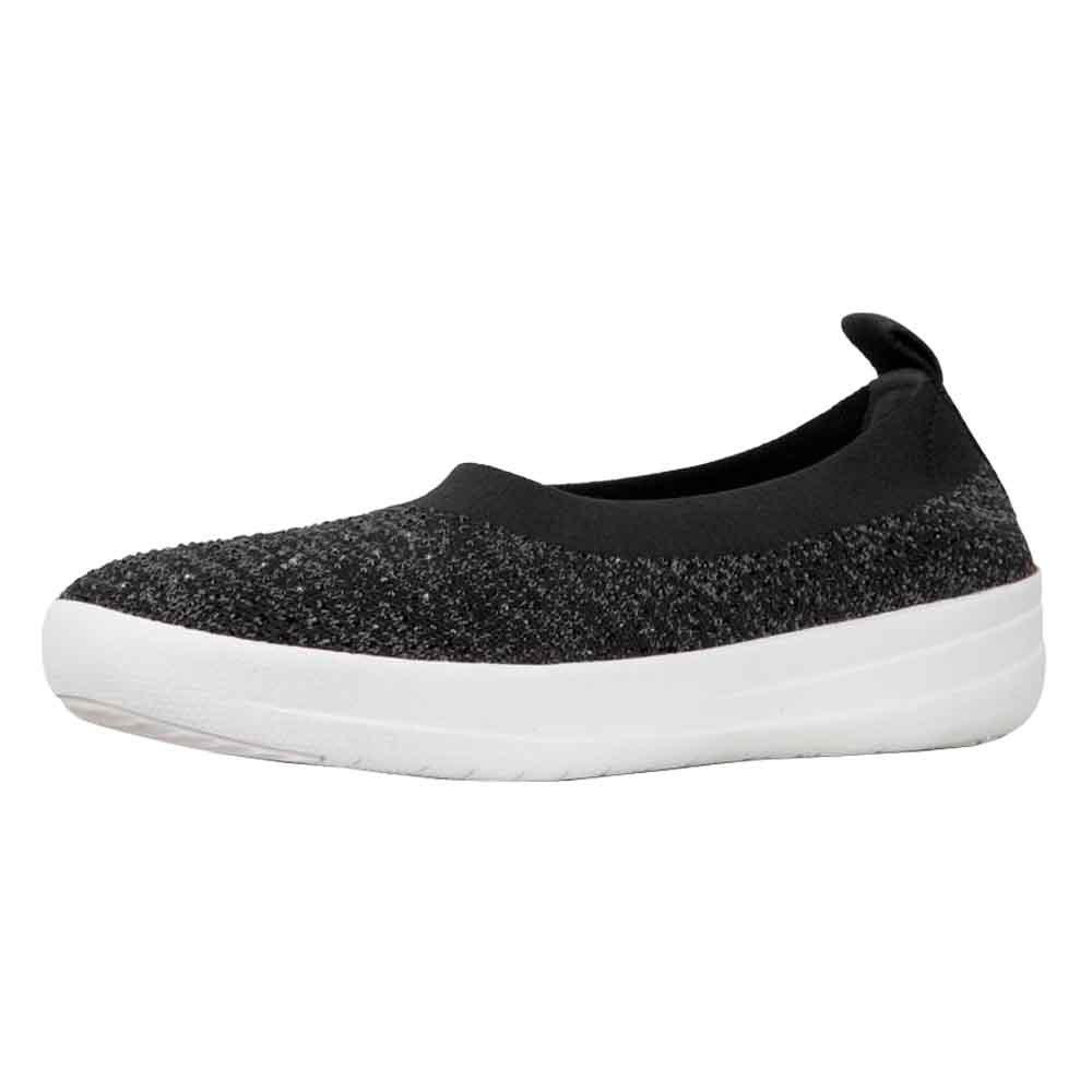 FitFlop Womens Uberknit Ballerina - Crystal Black/Soft Grey Slip-On - 9