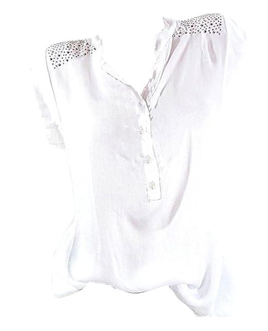 GladiolusA Camisetas Sin Manga Mujer Blusa Sin Manga Diamante De Imitación Camisetas Blusas XL