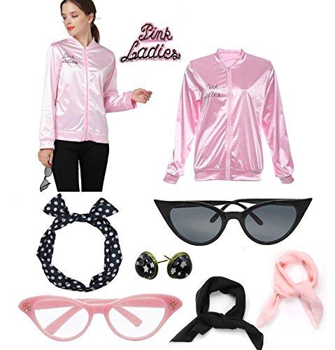 1950s Pink Satin Jacket Scarf T Bird Women Danny Halloween Fancy Costume