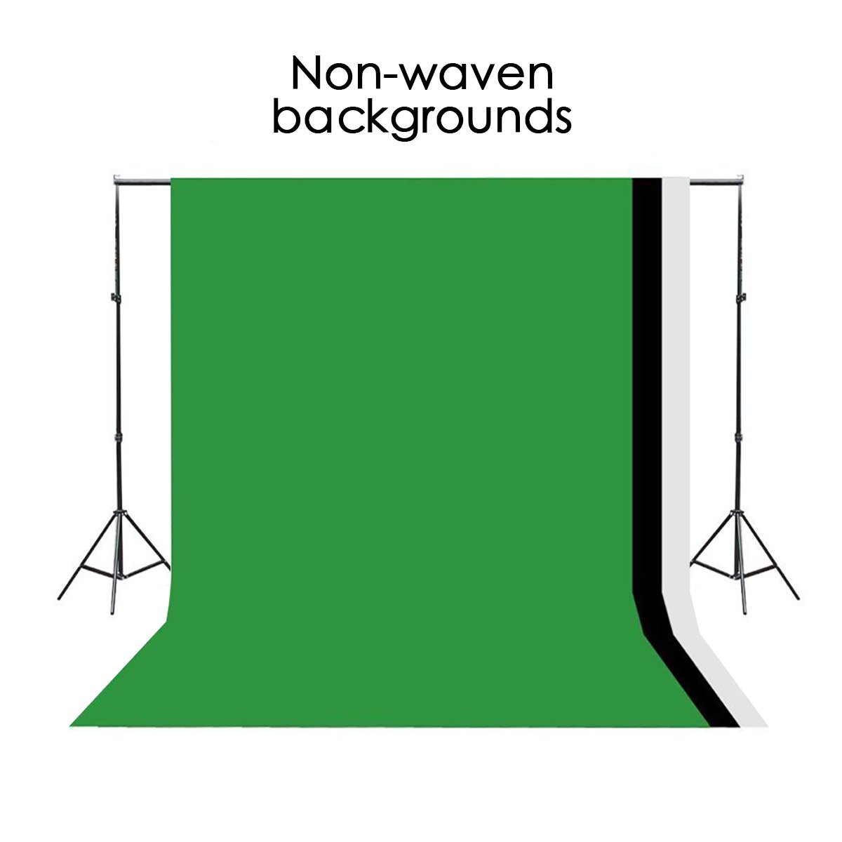 Excelvan Background Stand Support System Kit Photography Set 10 x 6.5FT and Green Black White Non-woven Backdrop 9 x 6FT
