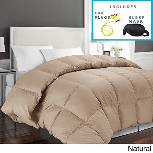 Hotel Grand 1000 Thread Count Egyptian Cotton Full/Queen Down Alternative Comforter with Sleep Mask and Pair of Corded Earplugs, Natural (Plug Natural)