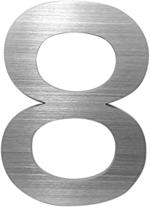 5 Inch Self Adhesive Stainless Steel Metal House Address Number 8 Sticker for Home Door - Silver by CANDIKO
