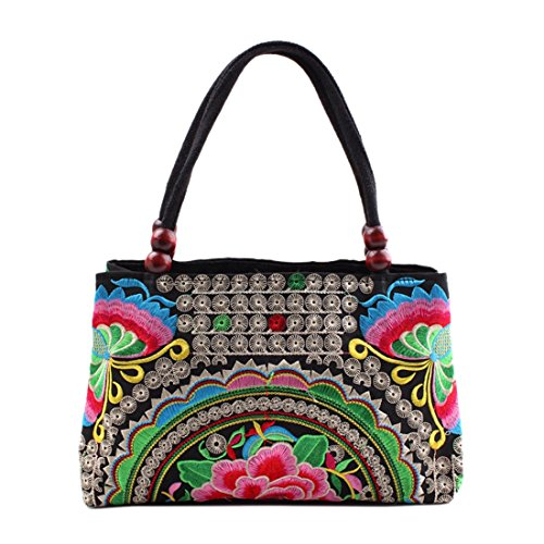 Jiyaru Women Embroidered Handmade Flower Handbag Canvas Embroidery Ethnic Unique National Style Lady Tote Bag (Butterfly Green)