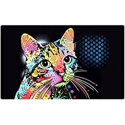 """Drymate Pet Placemat, Dean Russo Designs, Dog Food Mat, Cat Food Mat, Zorb-Tech Anti Flow Technology for Surface Protection (USA Made) (12"""" x 20"""", Catillac New)"""