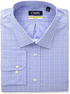 Chaps Men's Dress Shirt Regular Fit Stretch Collar Plaid