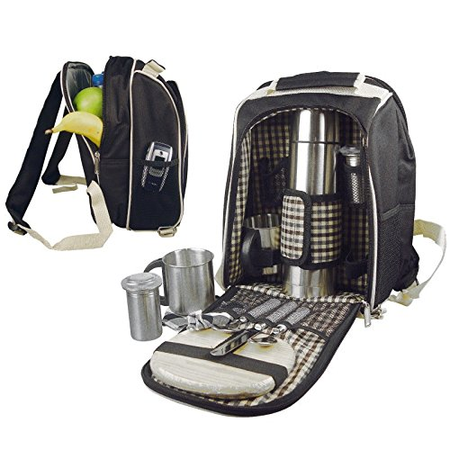 #Picknickrucksack mit integrierter Kühltasche für 2 Personen#