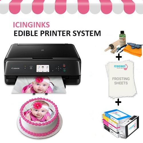 Edible Cake Printer Bundle Package - Canon Edible Image Printer, Edible Ink Cartridges, Frosting Sheets, Edible Cleaning Kit, Free Image Designing Lifetime, Edible Printer for Cakes by Icinginks (Best Edible Ink Printer)