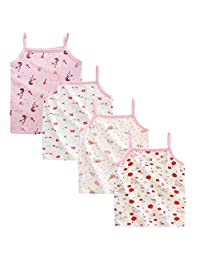 Nightaste Little Girl's Soft Cotton Undershirt Toddler Kids 4-Pack Camisoles Tank Tops with Cute Prints Fits 1-5 Years