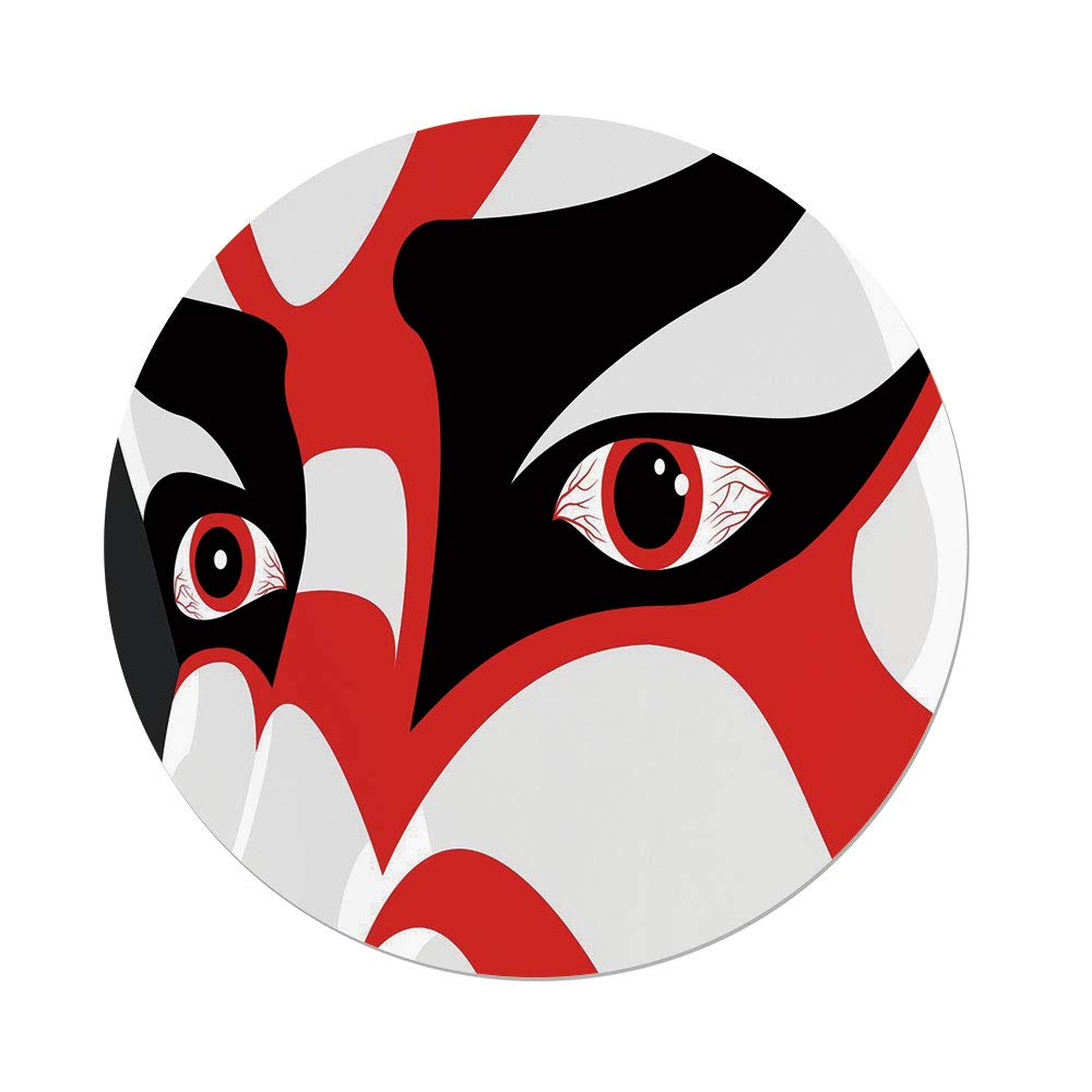 iPrint Polyester Round Tablecloth,Kabuki Mask Decoration,Japanese Drama Kabuki Face Dramatic Eyes Cultural Theater,Black White Red,Dining Room Kitchen Picnic Table Cloth Cover Outdoor Indoor