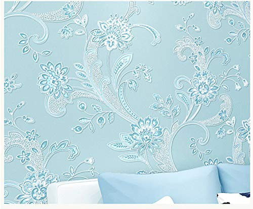 (Wallpaper Modern Minimalist Fashion Art Pastoral Big Flower Blue Non-Woven Wallpaper for Living Room Bathroom Kitchen Home Decor)