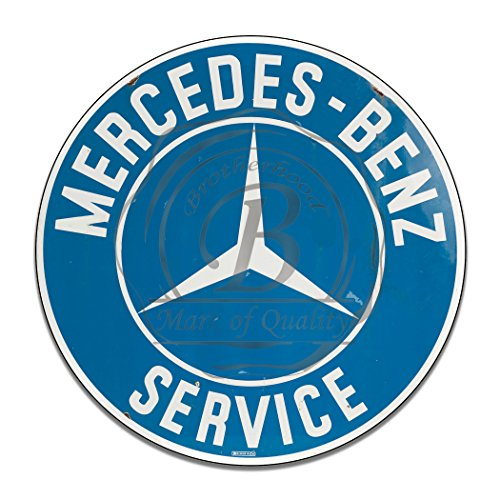Brotherhood Vintage Gas Signs Reproduction Car Company Vintage Metal Signs Round Metal Tin Sign For Garage & Home Decor (Mercedes Benz Service) - Round Metal Tin Sign
