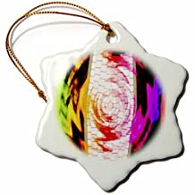 orn_39196_1 Jos Fauxtographee Abstract - Computor Keyboard Twirled and colored in Neon Green, Pink, Red, Yellow and Purple - Ornaments - 3 inch Snowflake Porcelain Ornament