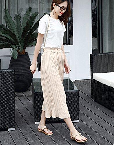 Minetom Mujer Verano Elegante Planos Solos Boca Superficial Hebilla Sandalias Tanga Zapatos Clip Toe Sandals Pisos Playa Albaricoque