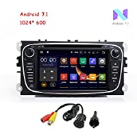 MCWAUTO For Ford Focus (2008-2010) Ford Mondeo (2007-2011) S-max(2008-2011) Galaxy (2011-2012) Focus Android 7.1 Quad Core 7 HD Touch Screen Car Stereo DVD Player with Rear Camera (Black)