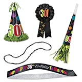 Birthday Cheer 30th Birthday Party Accessories Kit, 5pc