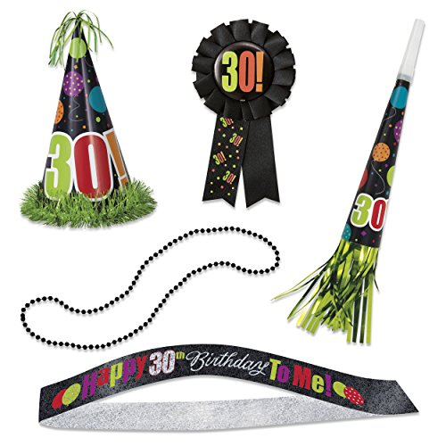 Birthday Cheer 30th Birthday Party Accessories Kit, 5pc by Unique