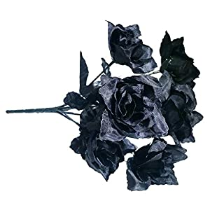 MM TJ Products Artificial Black Roses Bush; 7 Stems. 12 in-L 60