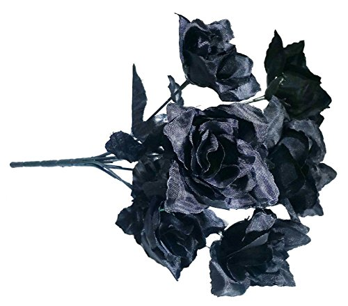 Artificial Black Roses Bush; 7 stems. 12 -