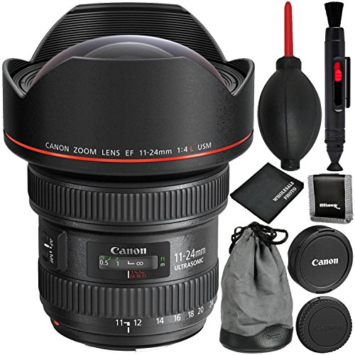 Canon EF 11-24mm f/4L USM Lens - 4PC Accessory Bundle Includes Memory Card Wallet + Dust Blower + Lens Cleaning Pen + Microfiber Cleaning Cloth by Canon