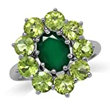 Natural Emerald Green Agate & Peridot White Gold Plated 925 Sterling Silver Flower Cluster Ring