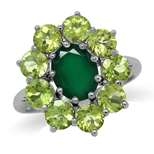 Silvershake Natural Emerald Green Agate and Peridot White Gold Plated 925 Sterling Silver Flower Cluster Ring Size 6