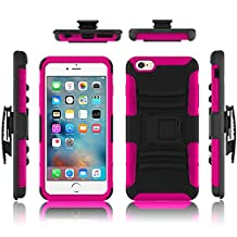 iPhone 6 case, Febe iPhone 6 Dual Layer Kickstand Case, Shockproof Hybrid Rugged Hard Soft Ultra Slim Fit Belt Clip Hostler Cover Case for iPhone 6 4.7 Inch - Hot Pink