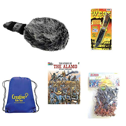 Davy Crockett Fun History Kit Costume for Kids Coonskin Hat, Toy Knife, Alamo Toy Soldiers, Alamo Coloring Book and Backpack
