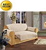 #1 Best Seller Reversible Furniture Protector! Elegance Linen® Luxury Slipcover/Furniture Protector Great for Pets & Children with STRAPS TO PREVENT SLIPPING OFF, Sofa Size, Cream/Taupe