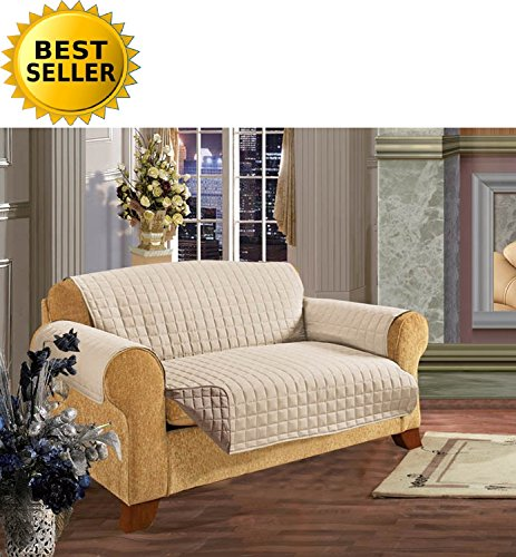 Reversible Furniture Protector! Elegance Linen Luxury Slipcover/Furniture Protector Great for Pets & Children with STRAPS TO PREVENT SLIPPING OFF, Loveseat Size, Cream/Taupe from Elegance Linen