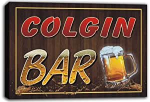 scw3-047588 COLGIN Name Home Bar Pub Beer Mugs Stretched Canvas Print Sign