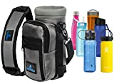 Water Bottle Holder Carrier – Bottle Cooler w/Adjustable Shoulder Strap and Front Pockets – Suitable for 16 oz to 25oz Bottles – Carry Protect & Insulate Your Thermos or Hydro Flask