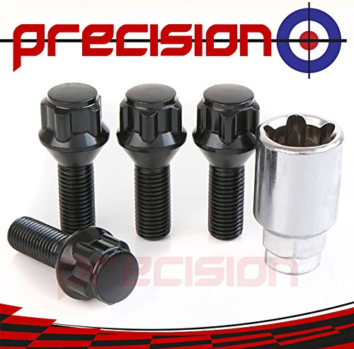 Black Chrome Locking Bolts for Aftermarket Alloy Wheels M12x1.5x26mm✓ 60° Taper✓ Part No.B17BAM Precision
