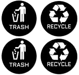 Recycle & Trash Stickers (2 Trash + 2 Recycle, Premium Quality) for Use on Trash Cans & Recycle Bins of All Types; 4'' Round with Adhesive on Back (2 Black Trash + 2 Black Recycle)