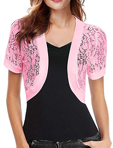 Thin Lace Crochet Shrug Bolero Cardigan for Wedding Dress Women Jackets (Pink,M)