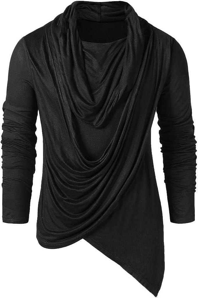 Men Winter Vintage Asymmetric Pile Heap Collar Solid Long Sleeve Tops Punk Shirts