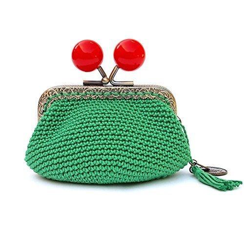 Monedero verde de boquilla con grandes y brillantes bolas ...