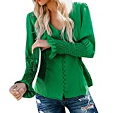 Kiminana WomenCasual Solid Long Sleeve Soild Button V Neck Slim Fit Shirt Tops Blouse Green