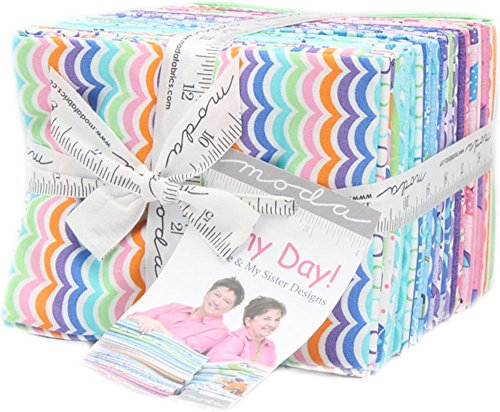 Moda Rainy Day! Fat Quarter Bundle 40 Precut Cotton Fabric Assortment Me & My Sister Designs 22290AB by Moda Fabrics
