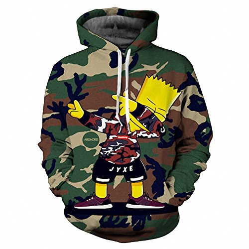 Crochi Fashion Men/Women 3d Hoodies Cartoon Hooded Sweatshirts With Caps Camouflage Style Tracksuits Tops Pullover M