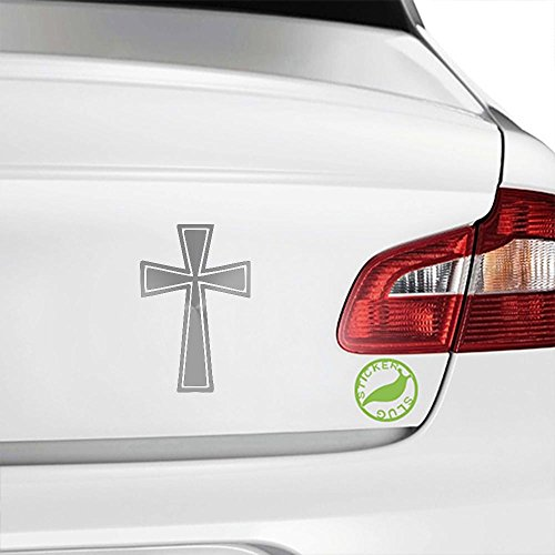 Religious Cross Decal Sticker (metallic silver, 5 inch) ()
