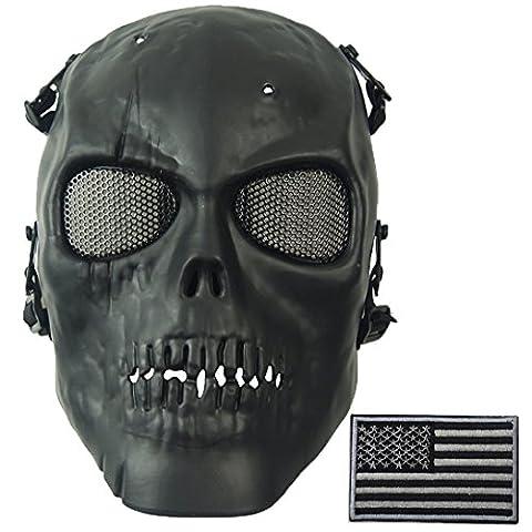Wwman Full Face Skull Bb Gun Airsoft Mask Tactical War Game CS Protective Gear equipment (Black) (Bomb Of Gas)