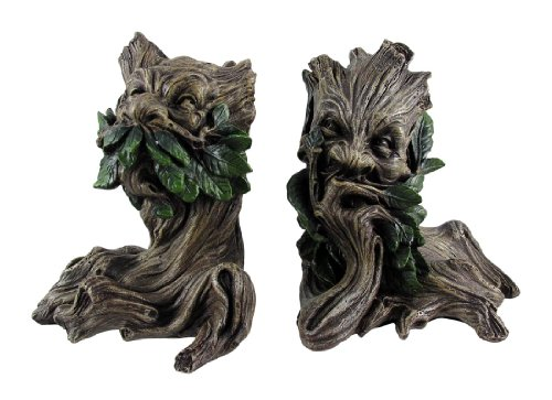 - Beautiful Green Man Greenman Decorative Bookends Tree Man