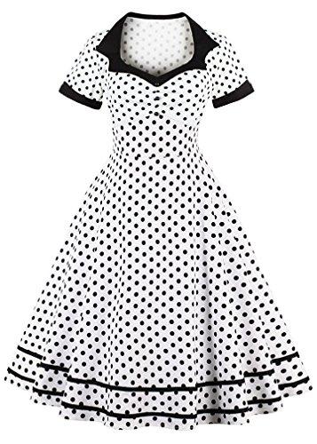 Nihsatin Vintage Polka Dot Retro Cocktail Prom Dresses 50's 60's Rockabilly White ()